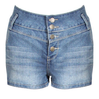 View Item Faded High Waist Denim Shorts